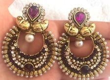 Indian Earrings Jhumki Purple Kundan Pearl Jewelry Jhumka Bollywood Dangle USA