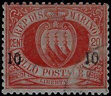 San Marino - 1892 - Stemmi - cent.10 su 20 rosso - usato - Sassone n.11
