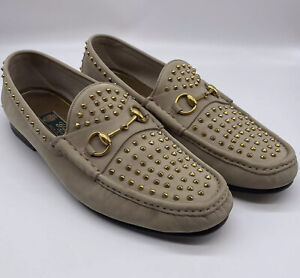 Gucci Mens 11.5 UK 12 US Studded Horsebit Loafers Tan Leather Gold Spikes Studs