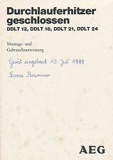 Originale Bedienungsanleitung 1988 AEG Durchlauferhitzer DDLT 12 18 21 24 manual