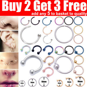 Nose Ring Nose Rings Lip Helix Tragus Lobe Ear Piercing Ring Surgical Steel Hoop