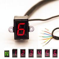 LED 6 Speed Digital Gear Indicator Motorcycle Shift Lever Gauge Waterproof N - 6