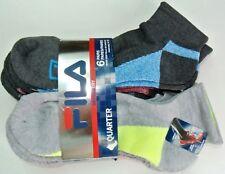FILA Men's Socks 6 Pack L Quarter Crew Grey Neon Lime Blue Red Cushion Athletic