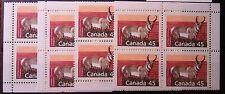 Canada #1172d, 45c Pronghorn, perf 13.1, Matched Set of Corner Blocks