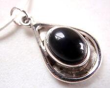 Black Onyx Cabochon Oval in Teardrop 925 Sterling Silver Pendant New