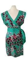 Warehouse Size 12 Jade Green Kimono Style Silk Wrap Dress Party Holiday Light