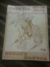 Honda CR250R  Elsinore Owners Manual 1979