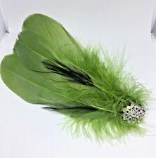 Silver Green  Vintage Feather Fascinator Headpiece Diamante Hair Clip wedding A2