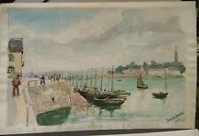 """Tableau Peinture Aquarelle PIERRE ABADIE LANDEL """" Port Douarnenez""""  PAL21"""
