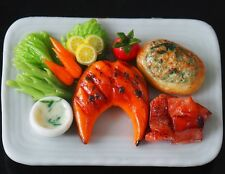 1:6 Dollhouse Miniatures Salmon Steak with Spinach Baked Cheese Bread Food Deco