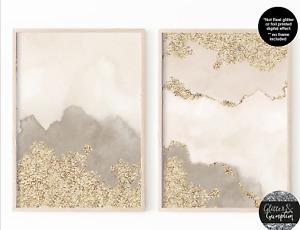 Beige gold Abstract Watercolour neutral wall art, abstract art, modern art print