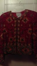 Adrianna Papell Chinese Red Silk Beaded Evening Jacket - Size Medium