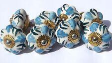 Porcelaine Céramique Poignées de placard fleur blanche bleu/vert feuillage (