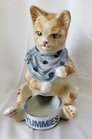 Vintage Large Louisville Stoneware Cat Bowl Feeder Pottery Retired Yummies