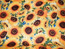 BTY WILD GOLD SUNFLOWERS Print 100% Cotton Quilt Craft TT Fabric by the Yard