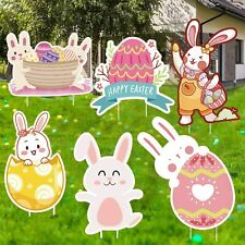 Kweida Easter Yard Signs 6 Pieces Decorations Outdoor Bunny, Rabbit Colorful