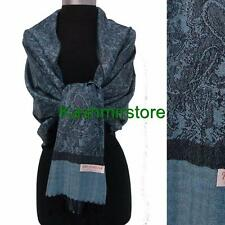 New Pashmina Paisley Floral Silk Wool Scarf Wrap Shawl Soft Blue/black #01