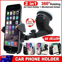 Car Phone Holder Air Vent Windscreen Universal Suction 2x Mount GPS Stand Cradle