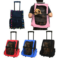 Pet Luggage Box Carrier Cat Dog Backpack Rolling Wheel w/Removable Stand