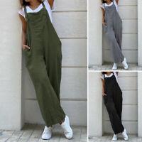Mode Femme Combinaison Loisir Ample coton Sans Manche Pantalon Jambe Large Plus