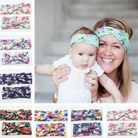 Mother Baby Girls Bow Hair Heads Band Knot Parent-child Stretch Cotton Headband