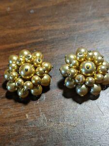 Gold Pearl Cluster earrings from 1950's. Signed KJL.