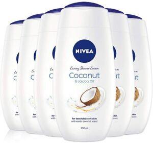 NIVEA Shower Cream Gel, Indulgent Moisture Coconut and Jojoba Oil, Pack of 6