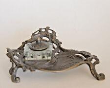 Antique Art Nouveau Inkwell Ornate Brass Stand Lidded Glass Well