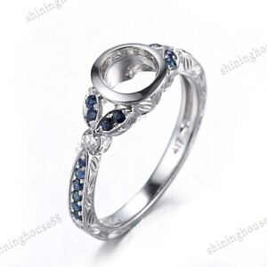 Sterling Silver Sapphires & Full Diamonds Semi Mount 5.5-6mm Round Ring Setting
