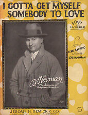 AL HERMAN jazz song I GOTTA GET MYSELF SOMEBODY TO LOVE Lou Handman UKULELE 1924