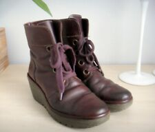 FLY LONDON BROWN/ PURPLE WEDGE HEEL WORKER STYLE ANKLE BOOTS SIZE 5  (38)