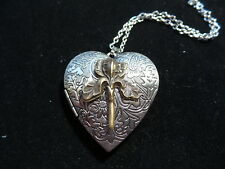 ANTIQUE SILVER HEART IRIS LOCKET