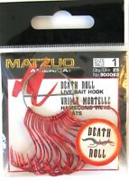 50 Matzuo Fishing 900062 Red Death Roll Live Bait Fish Hooks Size 1 (2pks of 25)
