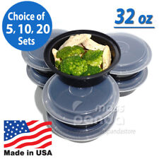 """32oz Meal Prep 7"""" Round Food Containers with Lids, Microwavable Plastic BPA free"""