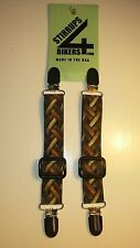 STIRRUPS 4 BIKERS .. MOTORCYCLE RIDER PANT CLIPS BUNGEE CLAMPS....LEATHER WEAVE