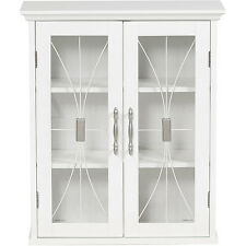 Bathroom Wall Cabinet White Mount Kitchen With Glass Doors Storage Display Linen