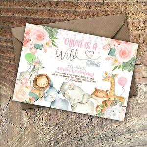 BIRTHDAY INVITATIONS First Birthday, Cute Animals, Personalised PK 10