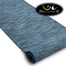 Modern Runner Sizal PATIO blue flat woven melange outdoor indoor on the terrace
