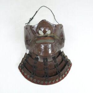 D1986: Japanese iron MENPO (face guard) of SAMURAI's armor YOROI like a real one