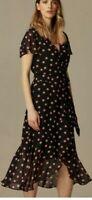 Ex Wallis black polka dot Fit and Flare Dress Size 10 Chiffon tie belt