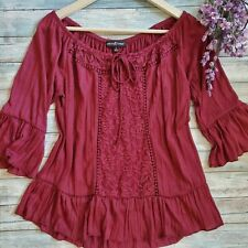 Almost famous boho tunic top lace front flare bell sleeve L off shoulder