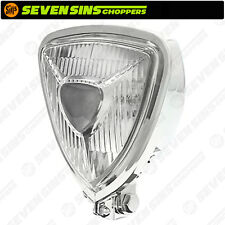 Chrome Triangle Headlight Lamp Custom Motorcycle Chopper Bobber Harley Triumph