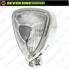 Chrome Triangle Headlight Lamp Custom Motorcycle Chopper Bobber Harley Triumph