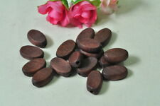 20pcs Oval Wood Bead Brown Finished Natural Wooden Steampunk Punk Necklace Craft