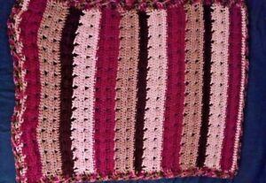 """Baby Receiving Blanket & Hat set Pink Brown Stripe  26""""  30"""" Handmade Crocheted"""