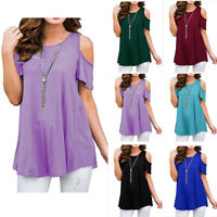 NEW Womens Short Sleeve T Short Tee Plus Size Off Cold Shoulder Loose Tunic Tops