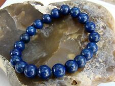 BLUE Men's 10mm LAPIS LAZULI beads Elasticated streachable bracelet