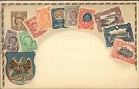 Mexico Postage Stamps Printed & Embossed on c1910 Postcard