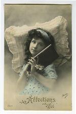 c 1912 Vintage Child Children Pretty DARK HAIRED GIRL tinted photo postcard