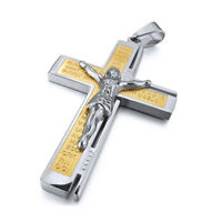 Stainless Steel Pendant Necklace Silver Crucifix Cross Bible Lords Prayer P1Y6
